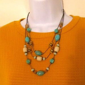 turquoise + cream layered statement necklace